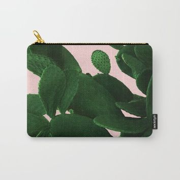 Cactus On Pink Carry-All Pouch by ARTbyJWP