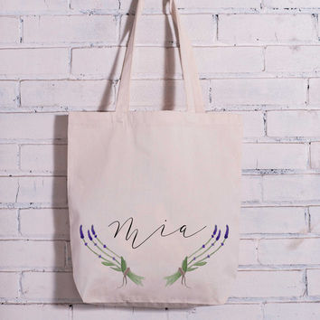 Personalized Lavender Watercolor Bag