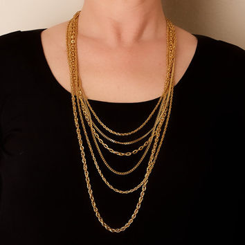 Vintage Long Multi Chain Necklace