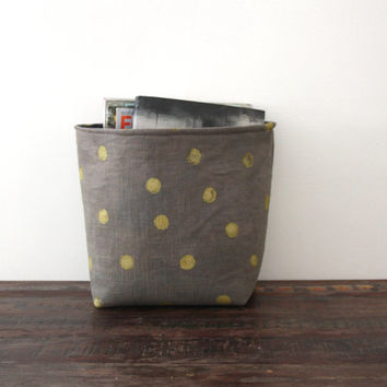 Gray & Gold Storage Bin / Fabric Storage Basket / Hand Dyed / Hand Printed / Gift Container