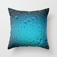 Stylish Cool Blue water drops Throw Pillow by PLdesign