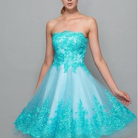 [89.99] Lovely Tulle Strapless Neckline A-Line Homecoming Dresses With Lace Appliques - dressilyme.com
