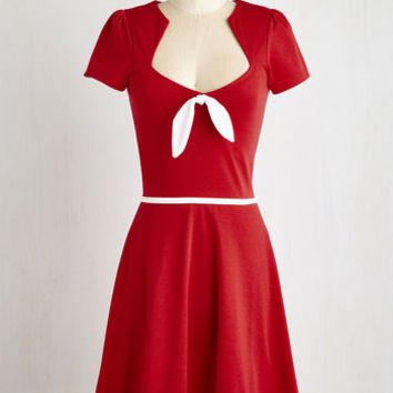 Nautical Mid-length Short Sleeves A-line With a Bow On Top? Dress