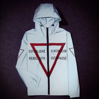 Supreme Unisex Lighting Windbreaker Spureme Thin and thick Reflective clothes hoodies Inverted triangle Front