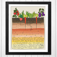 Earth soil layers vegetables garden sweet illustration kitchen decor print  INSTANT DOWNLOAD