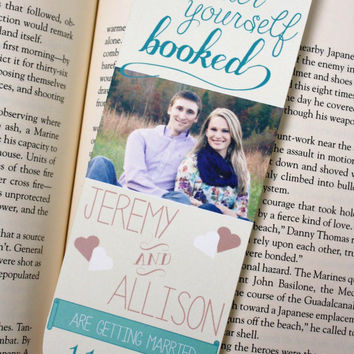 Custom Save the Date Bookmarks. Literary rustic wedding.
