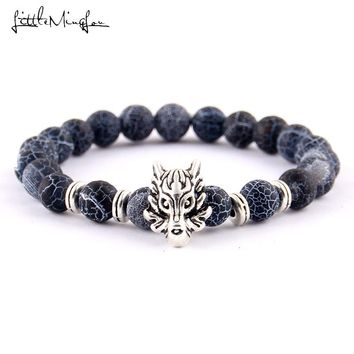 Little MingLou Antique Silver Animal Wolf Head Bracelet Frosted Volcano Lava Stone Beads Buddha dragon Men Bracelets bangles