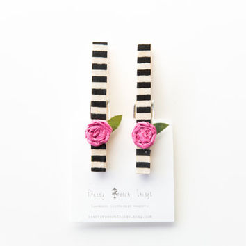 Clothespin magnets- Black and white striped with pink flower, set of 2