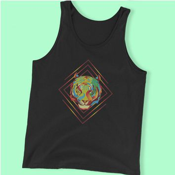 Fire Tiger Summer Hippie Hipster Psychedelic Rave Festival Neon Gift Gift Idea Men'S Tank Top