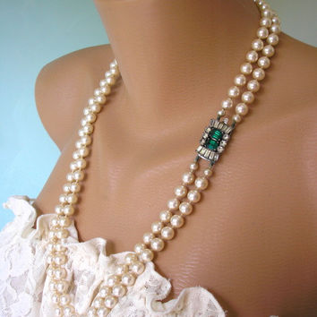 Great Gatsby Jewelry, Bridal Pearls, Emerald Necklace, Art Deco, Rhinestone Necklace, Wedding Jewelry, Bridal Necklace, Pearl Necklace