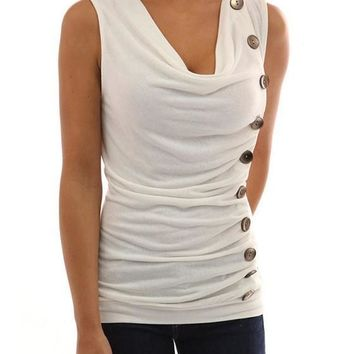 White Plain Buttons Collarless Fashion Slim Knit T-Shirt