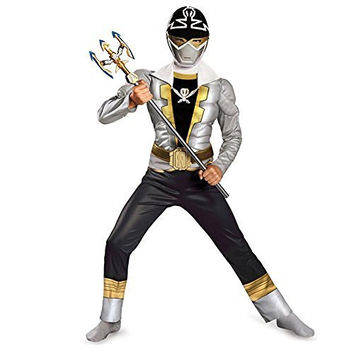 Disguise Saban Super MegaForce Power Rangers Special Ranger Silver Classic Muscle Boys Costume, Medium/7-8