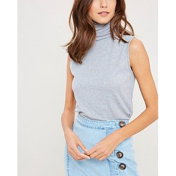 sleeveless ribbed turtle neck knit top - heather grey