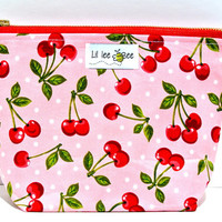 Cherry Pie Anyone: Make up Bag, Cosmetic bag, Toiletry bag, Travel bag or a Small clutch