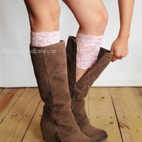 stretch lace boot cuffs in pink