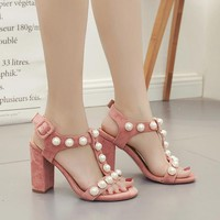 Suede Peep-toe Chunky Heel Beads Ankle Strap Sandals