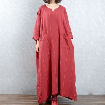 Women Long Maxi Caftan Striped Loose Fit Long Dress