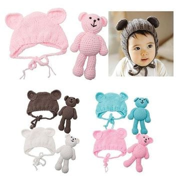 PEAPJ Hot! Newborn Baby Girl Boy Photography Prop Photo Crochet Knit Costume Bear +Hat Set