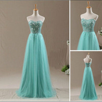 Beading Mint Tulle Wedding Bridesmaid Dress Long Prom Formal Party Evening Gown