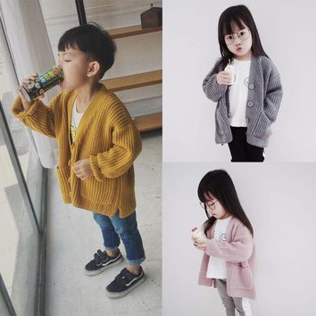 Autumn Boys Girls Sweater Cotton Cardigans Toddler Girls Jumper Knitwear Childrens Long-Sleeve V-Neck Kids Sweater Coat