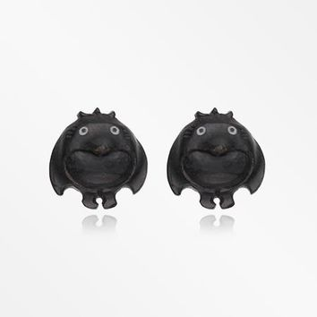 A Pair of Black Penga the Penguin Handcarved Wood Earring Stud