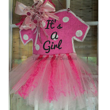 Baby Girl Hospital Door Hanger* Baby Girl Burlap Tutu Door Hanger*Baby Girl Wood Hospital Door Hanger