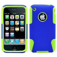 Blue Green 2 in 1 Hybrid Rubber Plastic Skin Case Cover for Apple Iphone 3g 3gs/ At&t