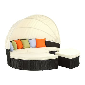 Quest Canopy Outdoor Patio Daybed Espresso White EEI-983-EXP-WHI-SET