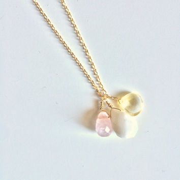 Love, Clarity & Compassion ~ Handmade Gold Filled Wire Wrapped Citrine, Rose Quartz and Snow Quartz Necklace ~ 14k Gold upon Request