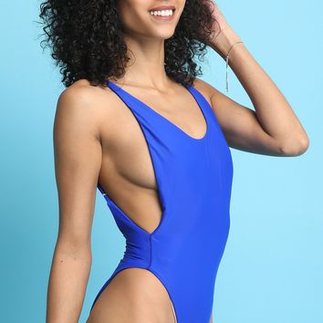 Side Cutout Scoop Back One Piece Swimsuit