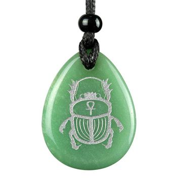 Amulet Egyptian Scarab Rebirth Ankh Life Powers Quartz Green Aventurine Totem Pendant Necklace