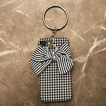 Houndstooth and Striped Bow iPhone Case