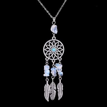 Indian Dream Catcher Feather Natural Stone Pendant Silver Necklace