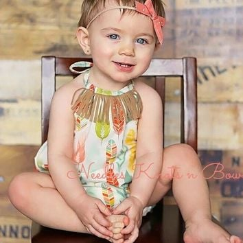 Girls Boho Feather Romper, Shabby Chic Romper, Baby Girls Bohemian