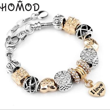 HOMOD Heart Charm Bracelets For Women Snake Chain Gold Color Pandora Bracelets & Bangles Fashion Jewelry Pulseras