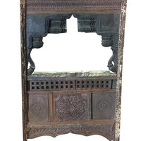 Antique Jharokha VINTAGE Natural Wood Shabby Chic Hand Carved Floor Mirror Frame Eclectic Furniture Living Room Decor FREE SHIP