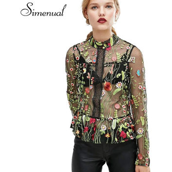 Simenual Mesh embroidery flowers vintage summer t-shirt