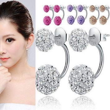 LMFUG3 Women 925 Sterling Fashion Silver Double Beads Crystal Ear Earrings Studs = 1946685380