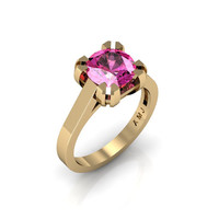 Modern 14K Yellow Gold Gorgeous Solitaire Bridal Ring with a 2.0 Carat Pink Sapphire Center Stone R66N-14KYGPS