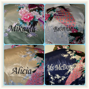 Personalized Set of 6 set of 7 Set of 8 Floral Kimono Satin Bridesmaid Robes Wedding Gift Bridal Party Robe blue purple lavender pink white
