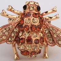 VONE7HQ OPAL FERRIE - Amber Honey Antique Bee Gold Plated Crystal Ring