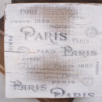 Paris sign, home decor, french sign, wooden sign, reclaimed wood, shabby chic, cottage decor, vintage, FREE SHIPPING