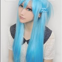 Sword Art Online Asuna Yuuki Good Quality Blue Cosplay Wig Woman's Hair Paty Cos Japanese Anime