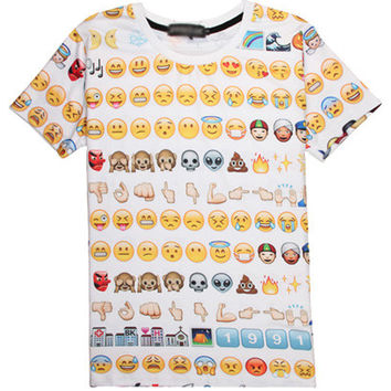 White 3D Emoji Print Short Sleeve Graphic Tee