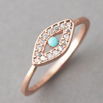 ROSE GOLD EVIL EYE RING JEWELRY from Kellinsilver.com