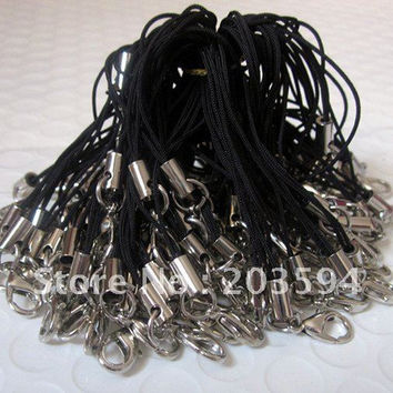 100 Pcs Black Cell Phone Lanyard Cords Strap Lariat Mobile Lobster Clasp 75mm Mobile Phone cord