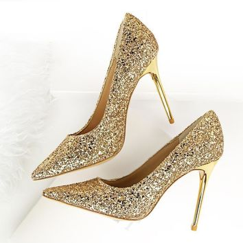 Pointed Toe Sequin Slip On Women Stiletto Bridal Shoes