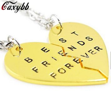 2017 Limited Real Collares Collier 2 Parts Heart Necklace Broken Pendant Necklaces Best Friend Forever For Jewelry Fth-n17