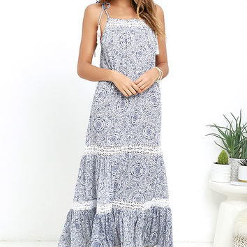Unknown Island Blue and Ivory Print Lace Maxi Dress