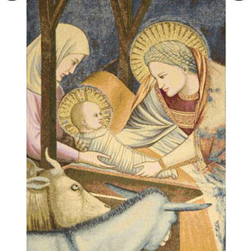 Nativity Giotto Left Panel Tapestry Wall Art Hanging